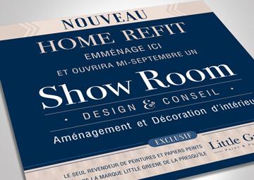 Création de la signalétique du Show Room de HOME REFIT à La Baule © CIMAJINE