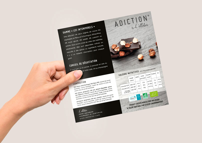 Création / impression brochure / plaquette commerciale chocolatier bio à Saint-Nazaire © CIMAJINE Graphiste St-Nazaire Image