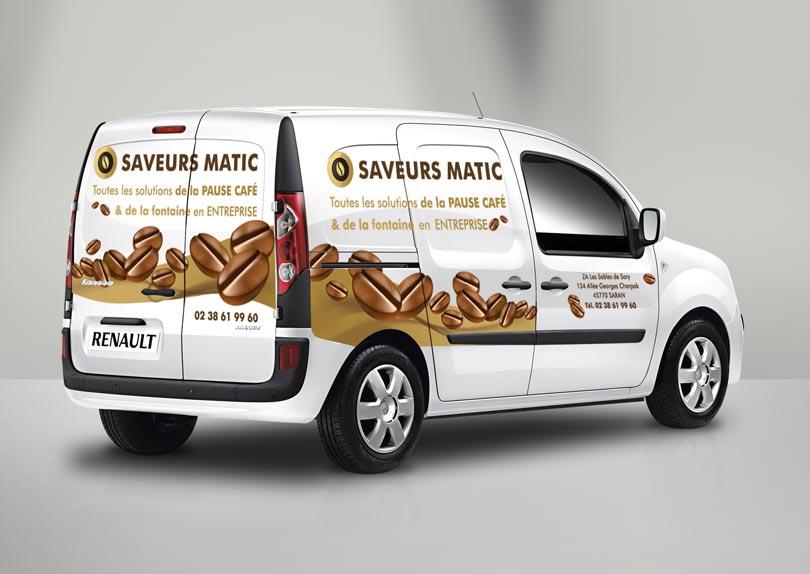 Création identité visuelle pour Saveurs Matic (logo et marquage véhicule) © CIMAJINE