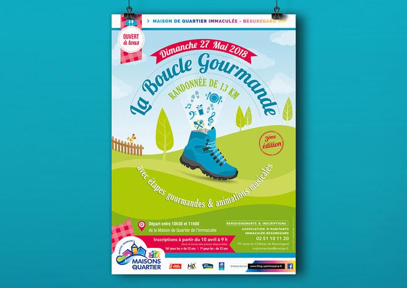 Création affiche et flyer pour la Boucle Gourmande de la Maison de Quartier par CIMAJINE, graphiste à Saint-Nazaire