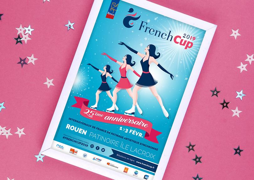 Création affiche French Cup Rouen 2019 (Patinage synchronisé) par CIMAJINE, graphiste à Saint-Nazaire