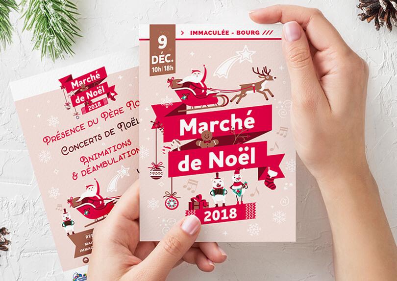 Création affiche et flyer du Marché de Noël de la Maison de Quartier par CIMAJINE, graphiste à Saint-Nazaire
