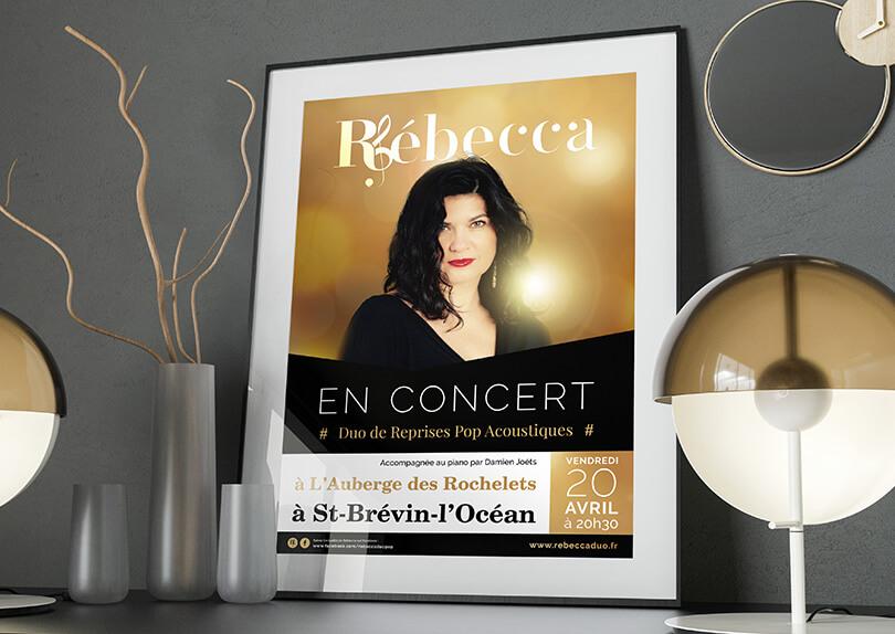 Création Logo – Carte de visite – Plaquette – Affiche – Roll up pour Rébecca Chanteuse professionnelle © CIMAJINE Graphiste St-Nazaire Image