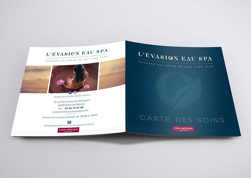 Création Logo – Carte des soins – Carte de visite – Carte de fidélité L'évasion eau spa © CIMAJINE Graphiste St-Nazaire Image
