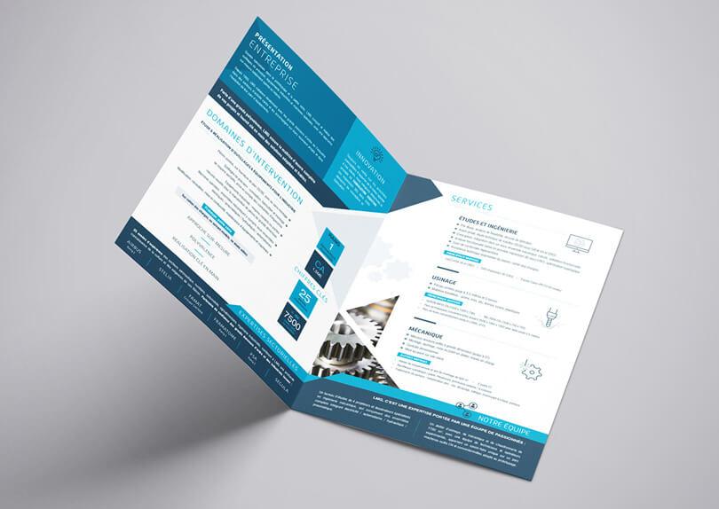 Création plaquette commerciale – cartes de visite – roll-up – panneau LMG © CIMAJINE Graphiste St-Nazaire Image