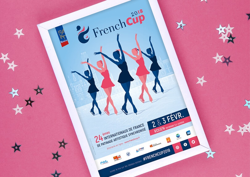 Création affiche French Cup 2018 – Internationaux de France de Patinage Synchronisé © CIMAJINE Graphiste St-Nazaire Image