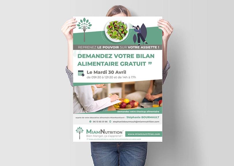 Création carte de visite – flyer – affiche – bannières publicitaires MiamNutrition © CIMAJINE Graphiste St-Nazaire Image