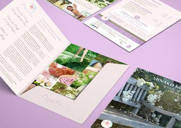 Création chemise à rabats et flyers Minako Institut de beauté © CIMAJINE Graphiste St-Nazaire