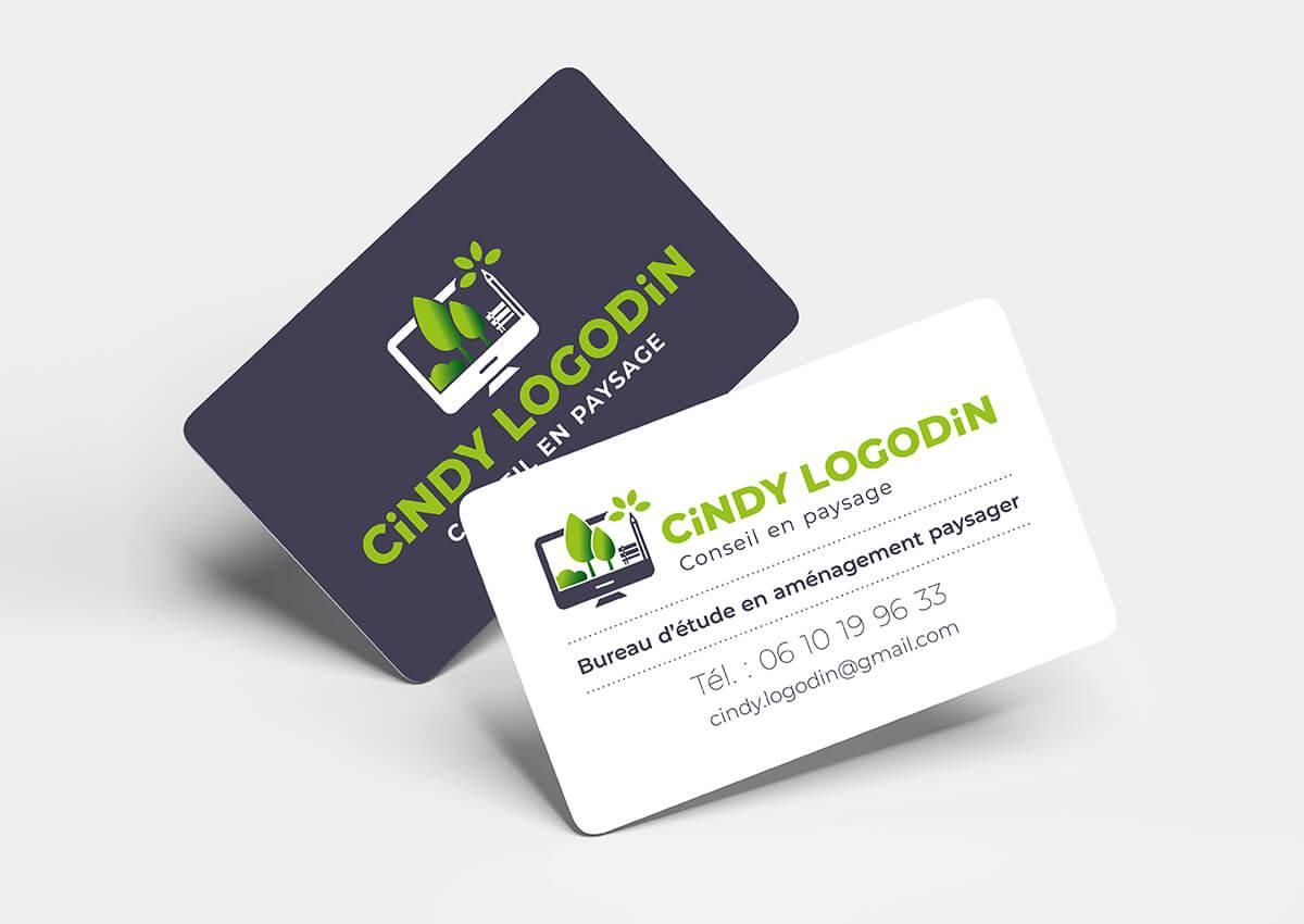 Création logo et cartes de visite Cindy LOGODIN Conseil en paysage © CIMAJINE Graphiste St-Nazaire Image