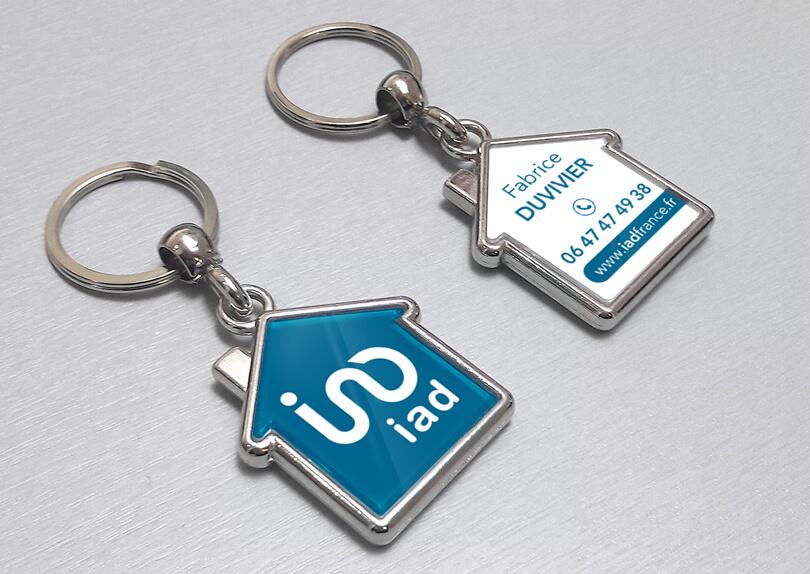 Porte-clé métal personnalisé en forme de maison IAD