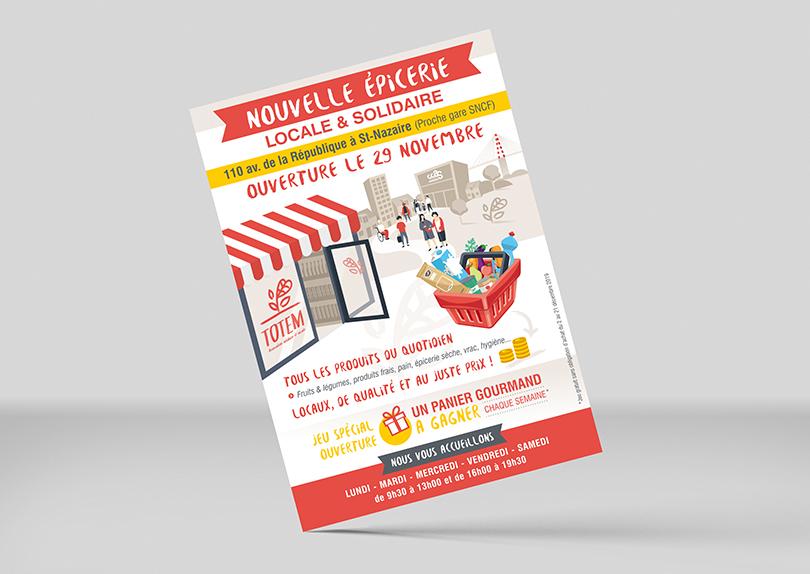 Création d'une plaquette 3 volets épicerie solidaire association Totem © CIMAJINE graphiste Saint-Nazaire Image