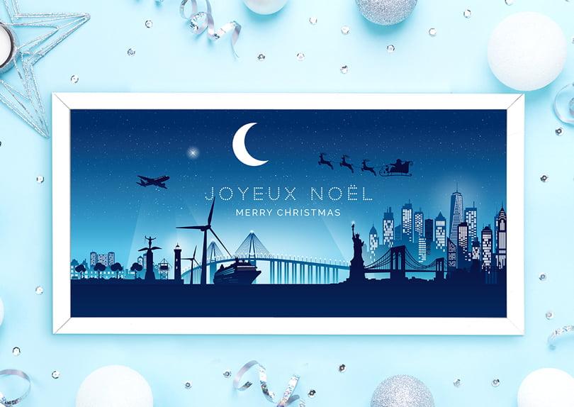 Création d'une illustration de noël Saint-Nazaire New-York © CIMAJINE graphiste