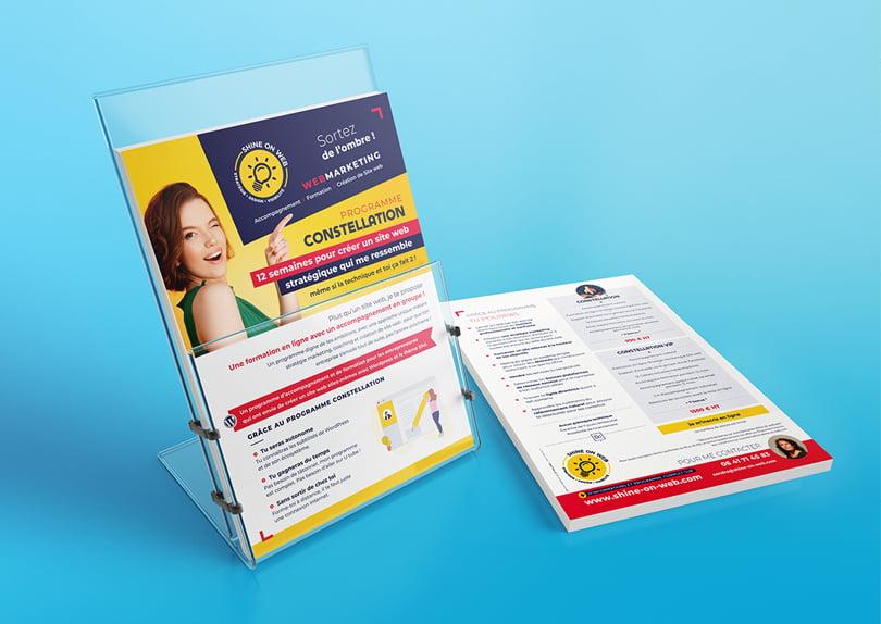 Création impression flyers / roll-up – agence webmarketing Shine on Web © CIMAJINE Graphiste Saint-Nazaire Image